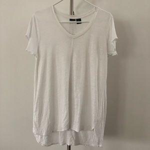 Tahari White 100% Linen V-Neck Short Sleeve Hi-Low